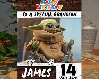 mandalorian baby yoda personalised door plaque gift free uk postage