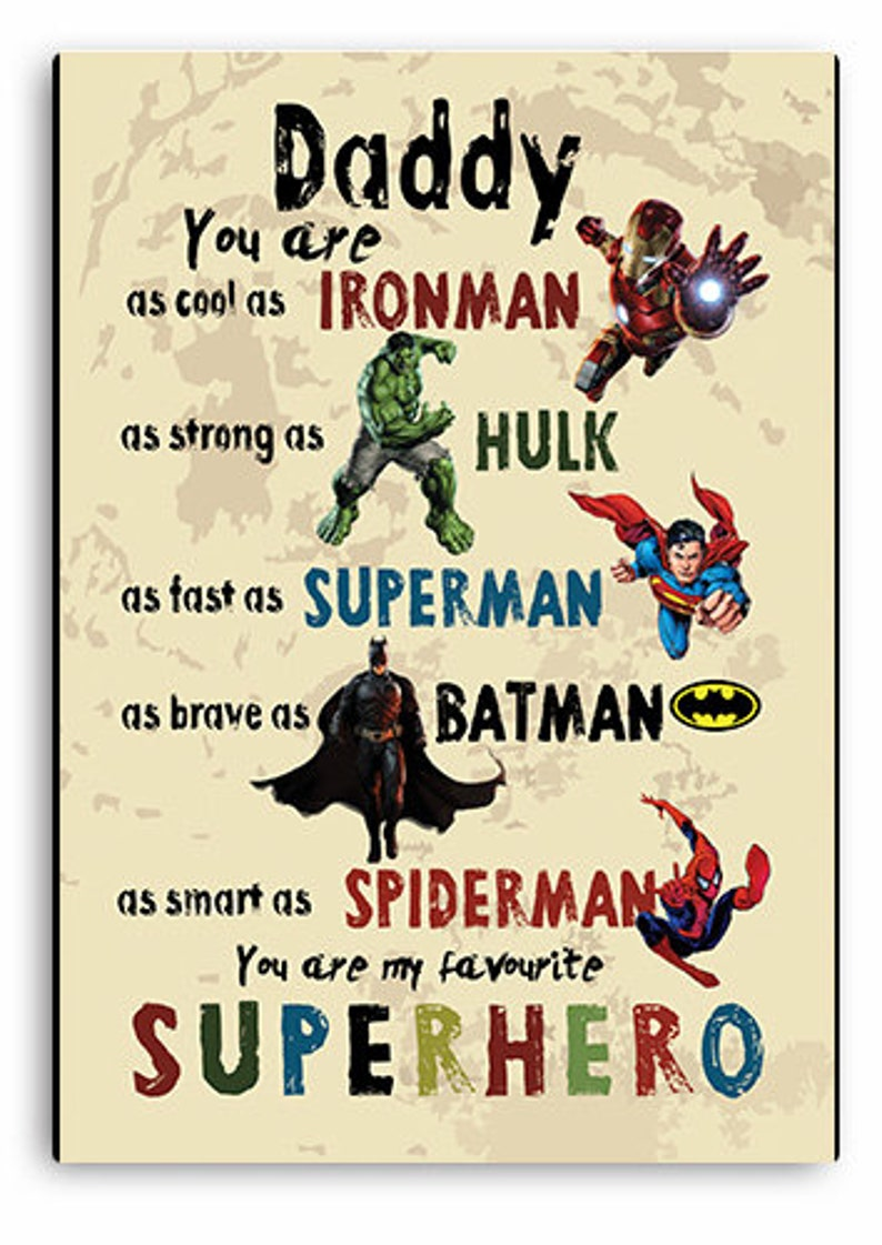 Personalised Fathers Day Gift Wooden Plaque Hero Superman Dad Daddy Gifts Wood