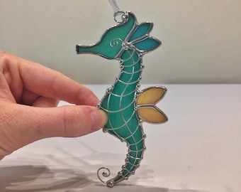 Stained Glass Seahorse Ornament