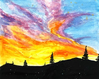 Brilliant Sunset WATERCOLOR PAINTING (Print)