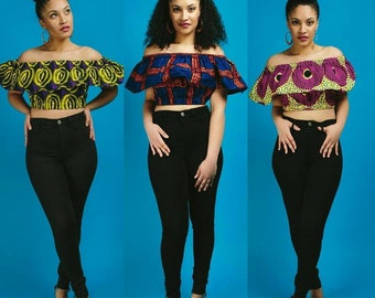 African fabric off shoulder crop top