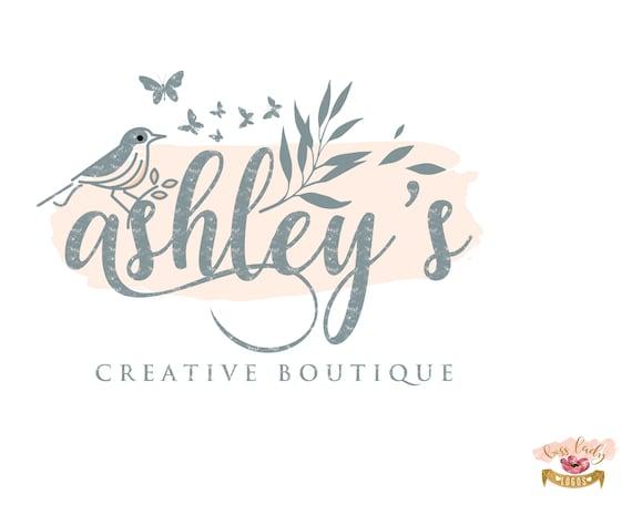 Signature Boutique Logo Design Distressed Faded Rustic Logo Etsy