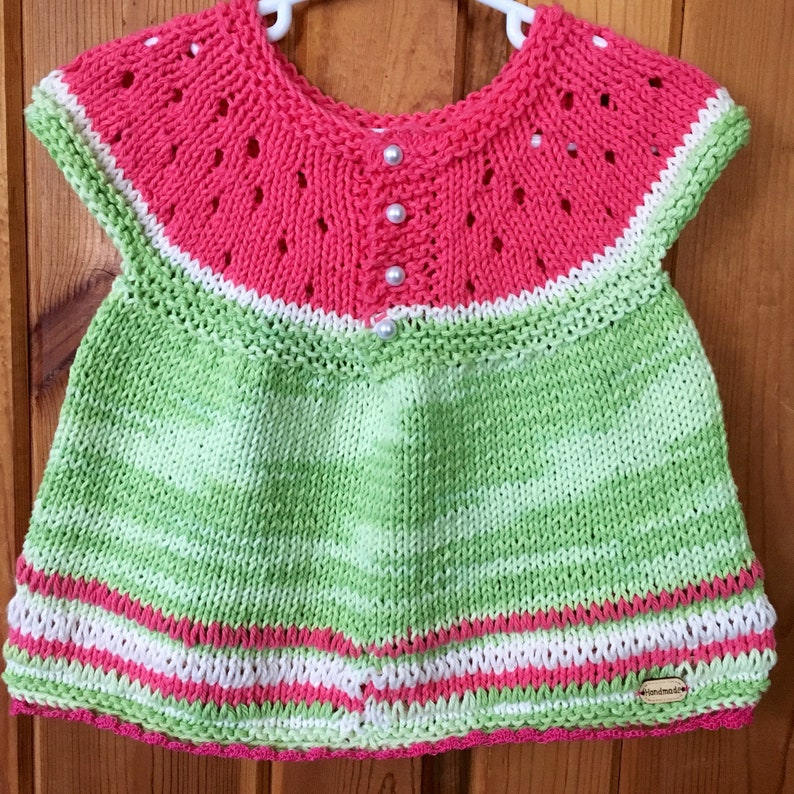 2aed68e03 Knitted watermelon sweater for little girls baby girl