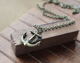 Men's Bronze Anchor Pendant Neckace