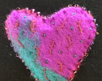 Heart shaped felt brooch