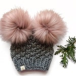 Olive Double Pom Hat (newborn to adult)