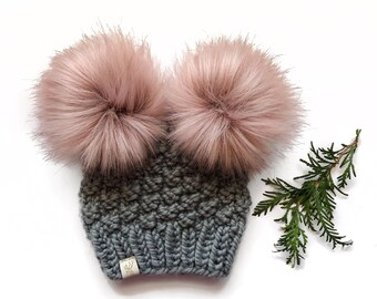 abf4302fa2bcd1 Olive Double Pom Hat (newborn to adult)