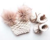 Baby Bootie Set - Baby Hat and Boots - Newborn Gift - Baby Slippers - Hat and Booties - Baby Shower - Baby Photo Prop