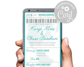 Template 5x7 Printable PDF Aqua Wedding Invite Suite INSTANT DOWNLOAD Easy Wedding Invitation NW005b Templett Affordable Cards