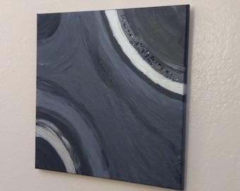 "Silver & Gray Abstract Painting, original acrylic art on canvas, modern decor ""Metallica First"""