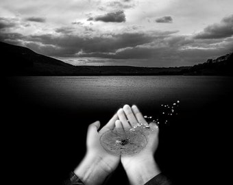 Surreal Black and White Print - Lake, Hands and Water Droplet - Photography
