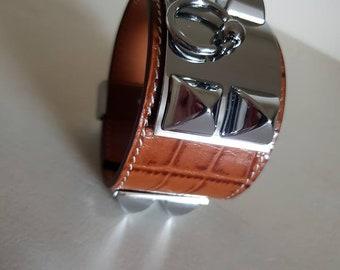 Pyramide en boucles d oreilles Crocodile cuir motif manchette Bracelet  cadeau pour elle cfdd6da0188