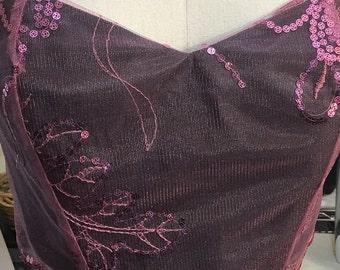 Bustier crop top - pink sequin and black satin