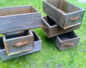 Set of 6 Reclaimed Redwood Floral Arrangement Boxes