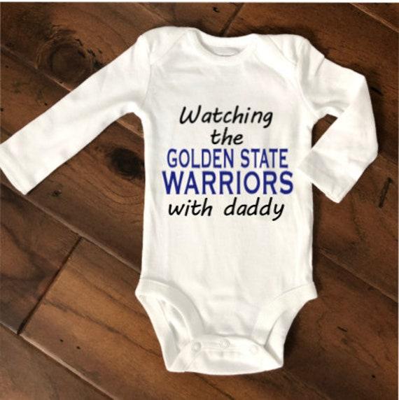 Golden State Warriors Onesie Shirt Bodysuit Love Watching With Daddy