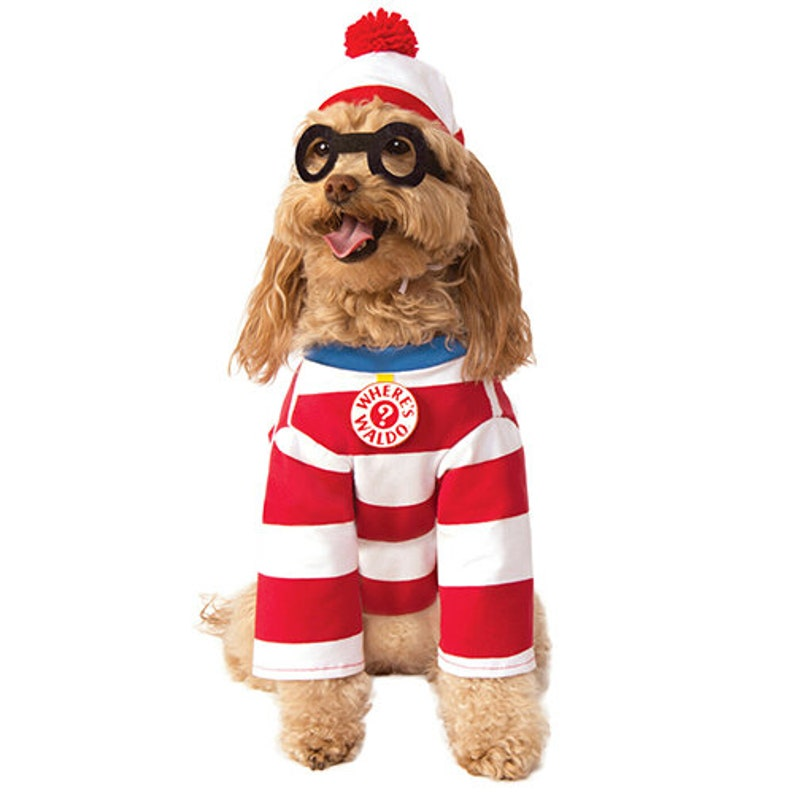 Wheres Wally Waldo Woof Pet Dog Cat Halloween Stripped Costume image 0