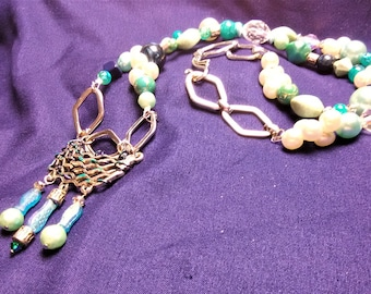 Mermaid's Treasure Upcycled Beaded Necklace