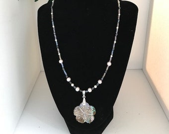 Abalone Flower and Pearls Beaded Necklace