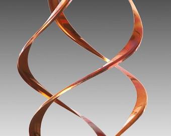 Infinity copper sculpture, wind spinner, garden art
