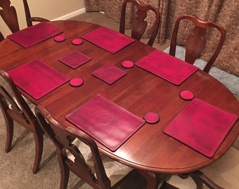 Leather Placemats Etsy - Custom table pads 69 usd