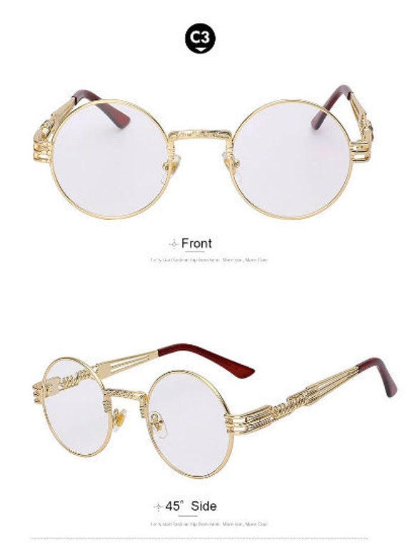6b5bdc710e New Metal Spring Gold Frame Round Steampunk Glasses with Clear