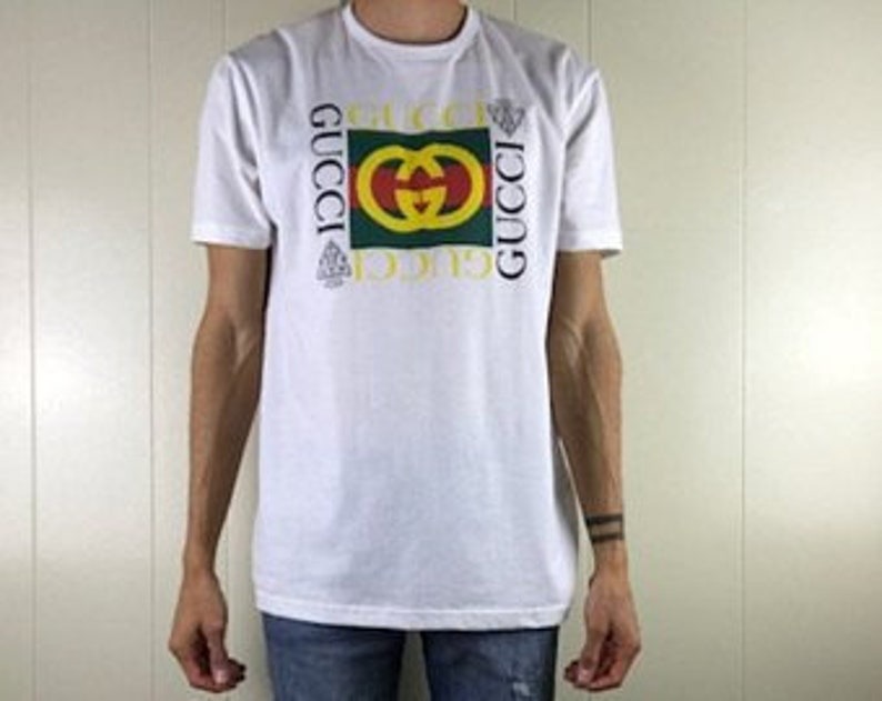 105e4c4a Brand New Vintage Gucci Inspired White Logo Unisex Short | Etsy