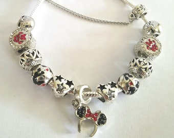 Minnie Mouse Ears Disney inspired Charm Bracelet