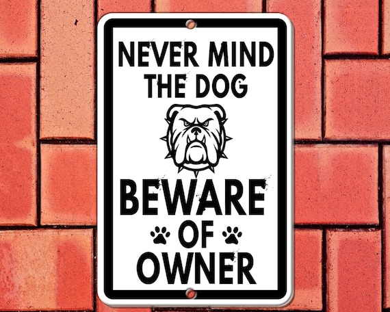 Aluminum Beware Of The Dog Sign Black And Orange