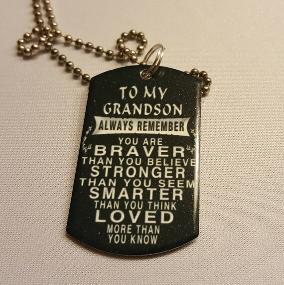 To My Grandson Always Remember You Are Loved Stainless Steel Etsy
