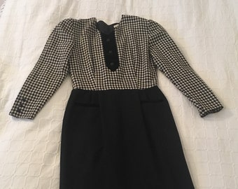 Vintage Valentino, Tuxedo Style Wiggle dress, 80's, Houndstooth print, pin up style