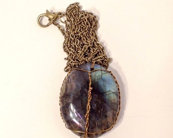 Copper Wire Wrapped Labradorite Crystal Pendant Necklace