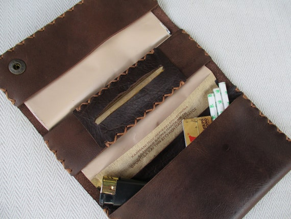 Handmade leather tobacco pouch.