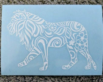 Happy Birthday Etsy Sale! Tribal/Zen Tangle Lion with Bushy Mane and Flowers Vinyl Decal for Car and Home (Tons of Colors Available!)