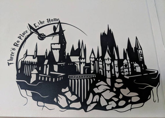 Hogwarts Castle Silhouette W Snitch And There S No Place Etsy