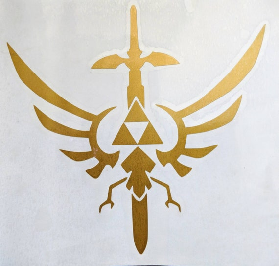 The Legend Of Zelda Hylian Crest Triforce With Master Sword Etsy