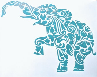 Happy Birthday Etsy Sale! Zen Tangled/ Tribal Intricate Elephant with Flowers Vinyl Decal for Car or Home (Various Colors Available)