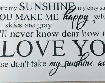 Happy Birthday Etsy Sale! You Are My Sunshine Wall Decal for Bedroom/Nursery/Home Decor