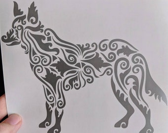 Happy Birthday Etsy Sale! Zen Tangled/Tribal Dog/Wolf/Coyote Vinyl Decal for Car or Home (Various Colors Available)