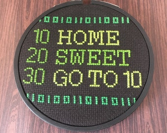 Home Sweet Go To 10, Completed Cross Stitch, Funny Cross Stitch, Small Home Decor, Small Framed Art, Programmer, Geek Gifts