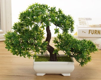 Bonsai Tree in Square Pot - Artificial Plant Indoor Decoration for Office/Home 18cm/7in