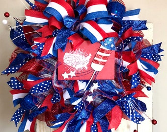 Patriotic, red, white, blue, front door, welcome, wreath