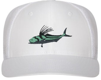 """Roosterfish """"On Fly"""" Original All White Trucker Hat"""