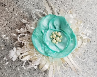 Mint Green and Creamy White Pearl and Silk Flower Wrist Corsage and Boutonniere Set
