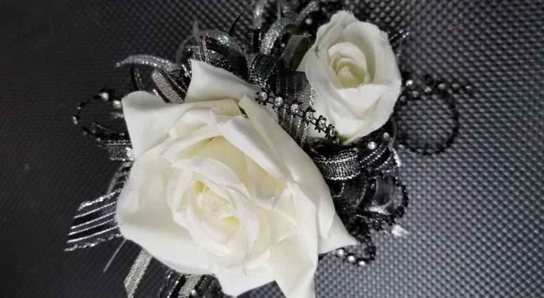 Cream Black And Silver Silk Flower Wrist Corsage W101 Etsy