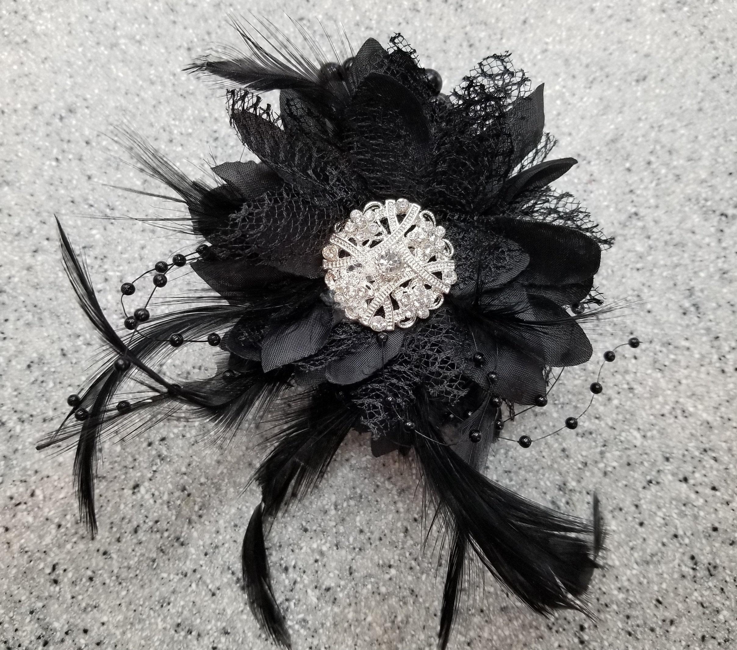 Stunning Black Silk Flower Wrist Corsage With Rhinestone Etsy