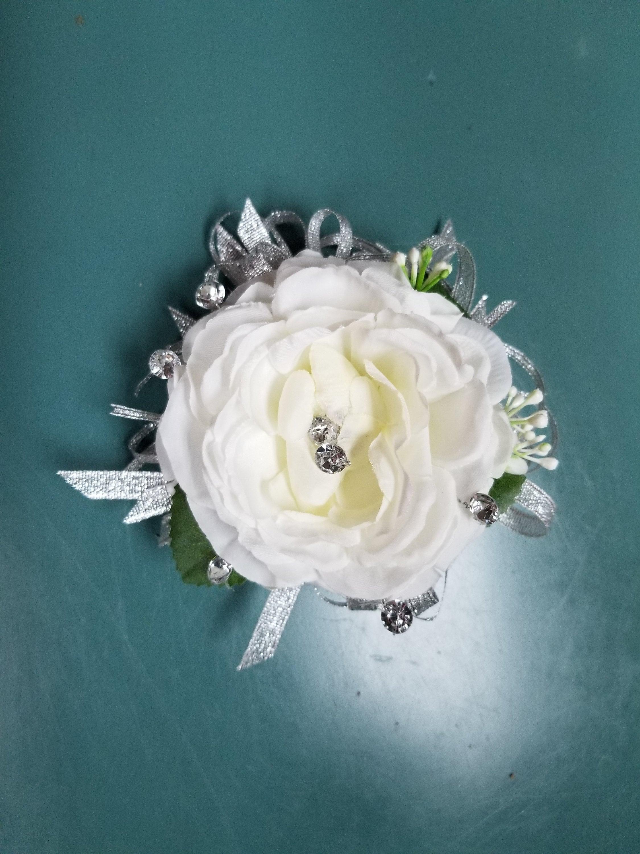 Cream Ivory Silver And Rhinestone Silk Flower Wrist Corsage Etsy