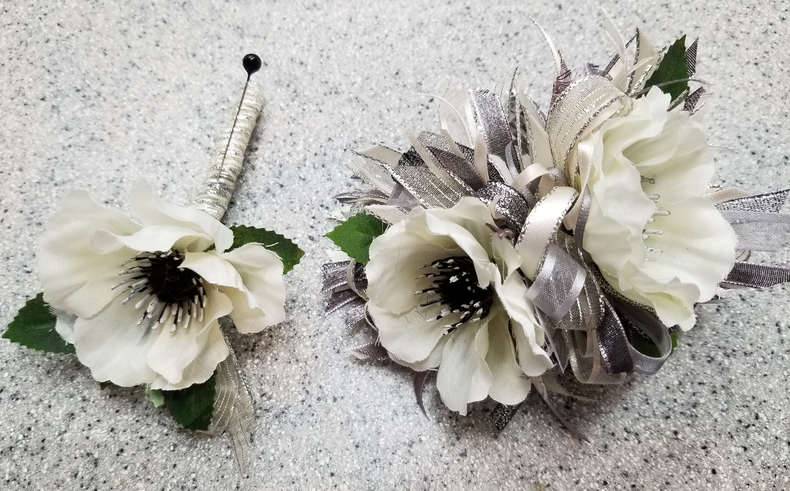 Cream Ivory And Dark Gray Silk Flower Wrist Corsage And Etsy