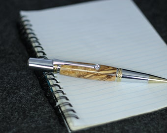 Swarovski Crystal pen, A great gift for the pastor, Majestic Hand Turned Pen in Bethlehem Olive Wood, Holy Land, Pastor Appreciation Gift