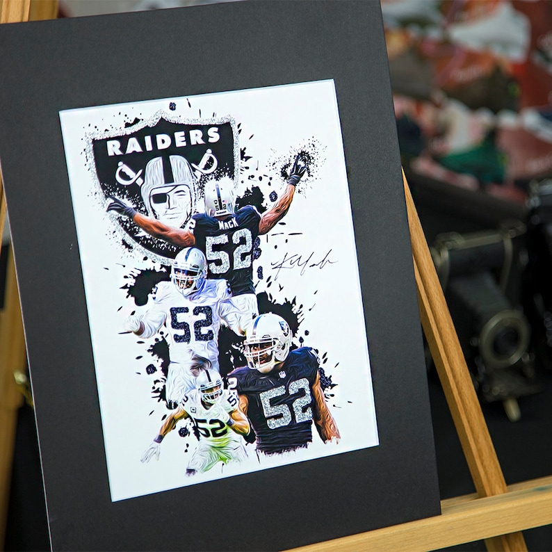 finest selection a64fa fd731 Khalil Mack #52 - Oakland Raiders - Unique Artwork - 3D Effect - Sports Art  Print - Modern Art Poster