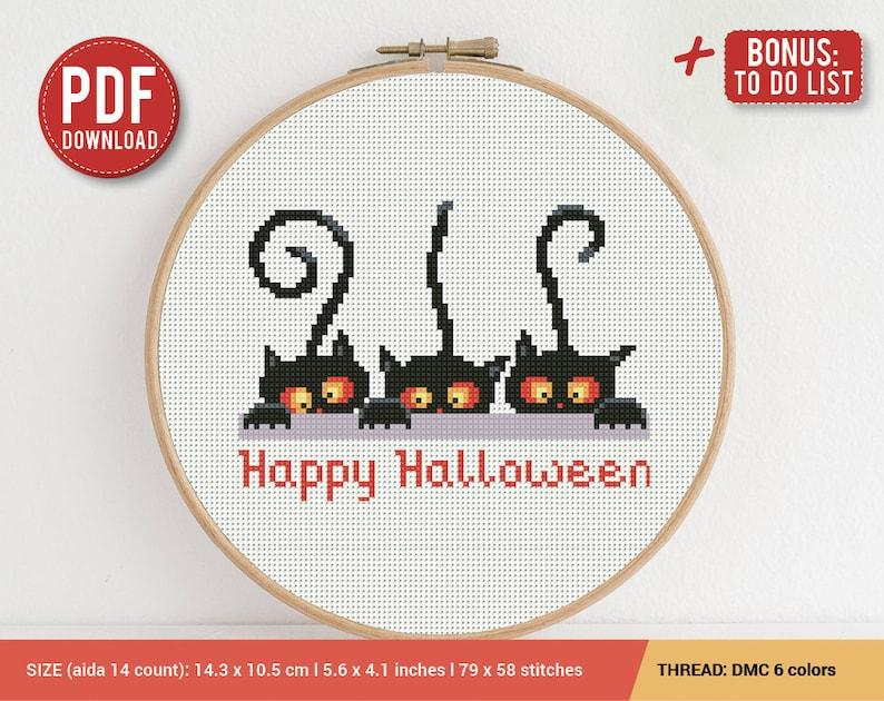 Beautiful Funny Black Cat Happy Halloween Cross Stitch Pattern   Embroidery Pattern    Instant Download   Cross Stitch Patterns   Embroidery Designs
